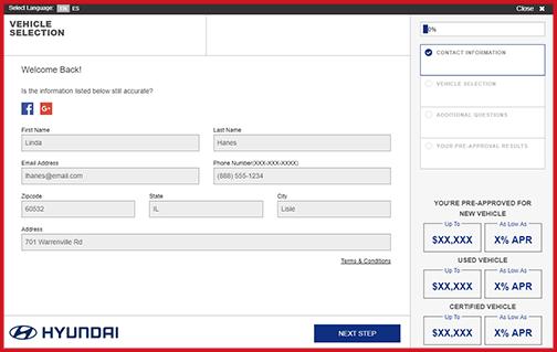eCreditApp screen 1 of 3: vehicle selection