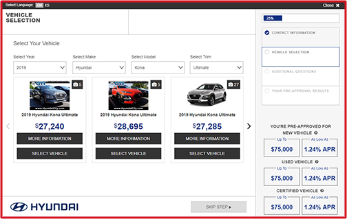 eCreditApp screen 2 of 3: vehicle selection screen with slideshow gallery of options