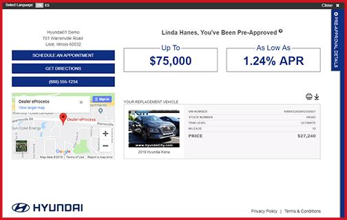 eCreditApp screen 3 of 3: vehicle offer