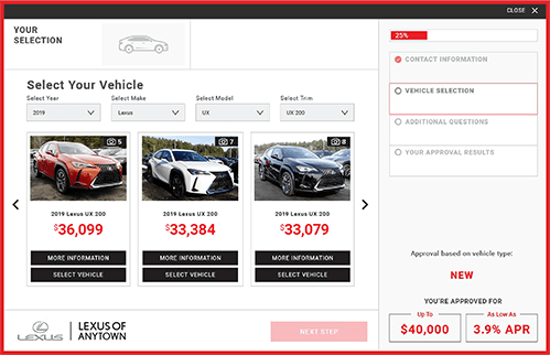 eCreditApp for Lexus website, screen 2 of 3: select vehicle from scrolling image preview menu