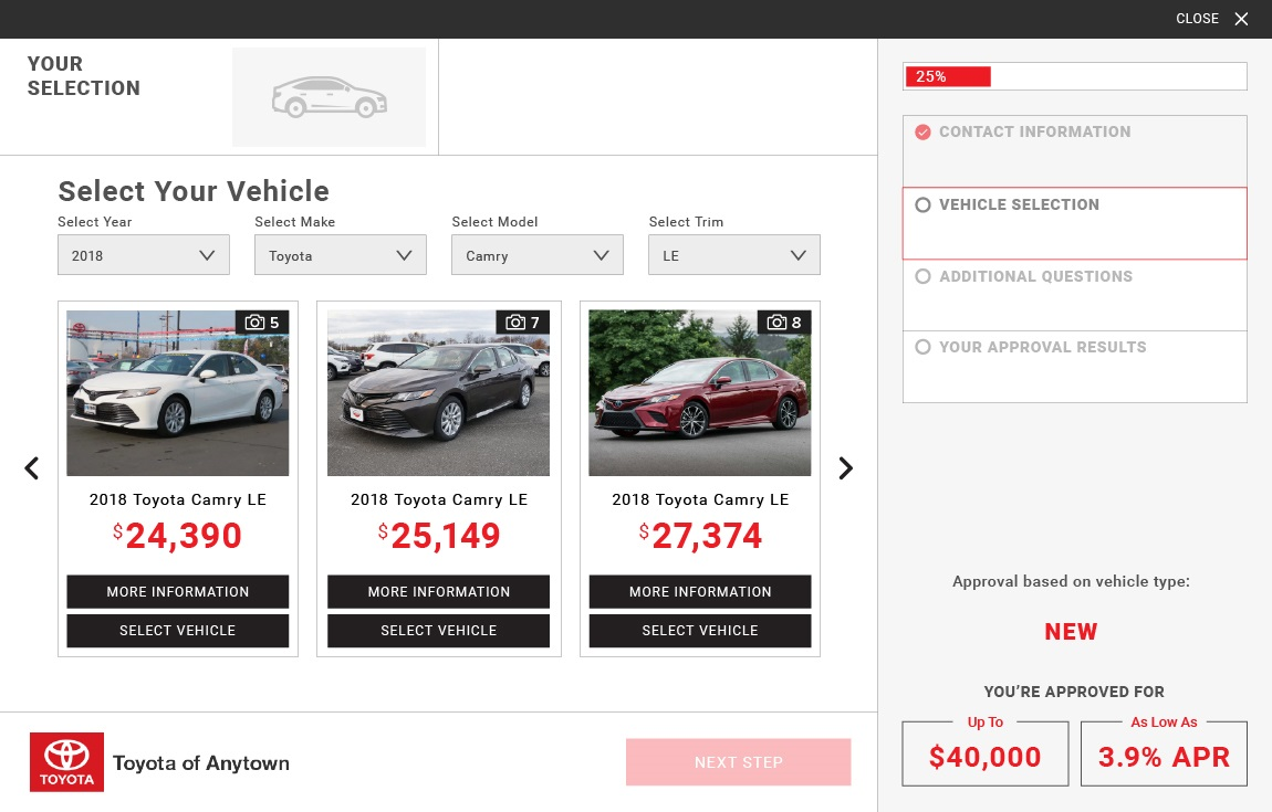 eCreditApp vehicle selection