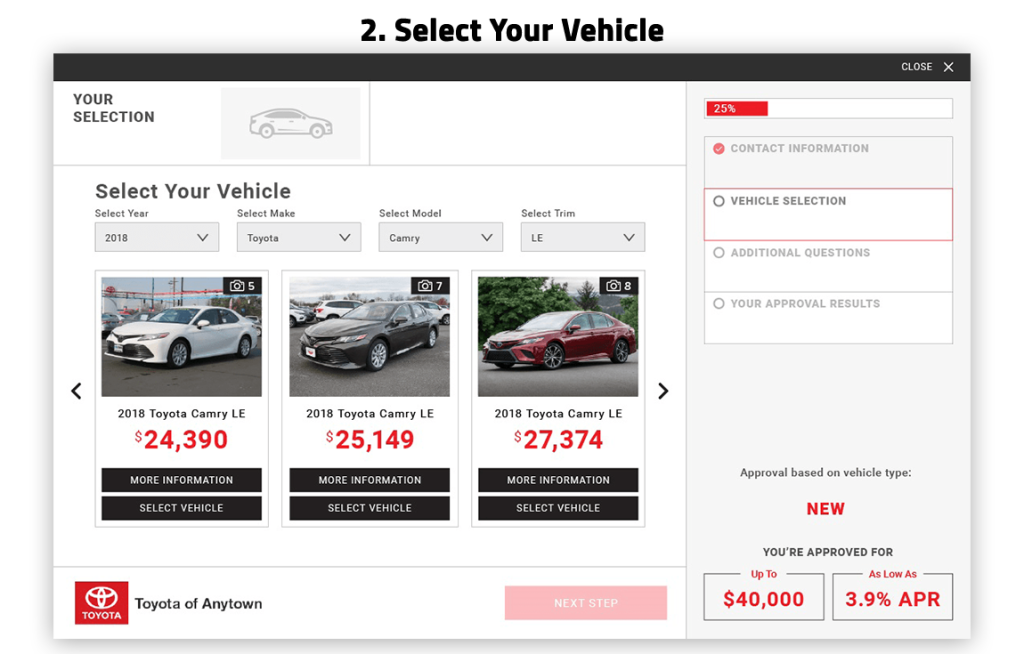 eCreditApp step 2: select your vehicle