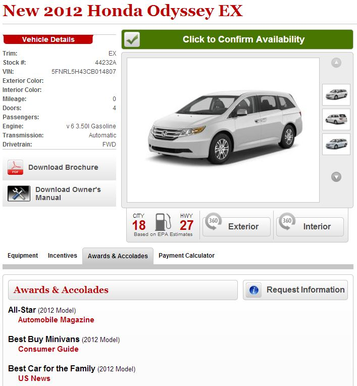 Dealerships can tell customers about a vehicle's awards or download a brochure directly from their website.