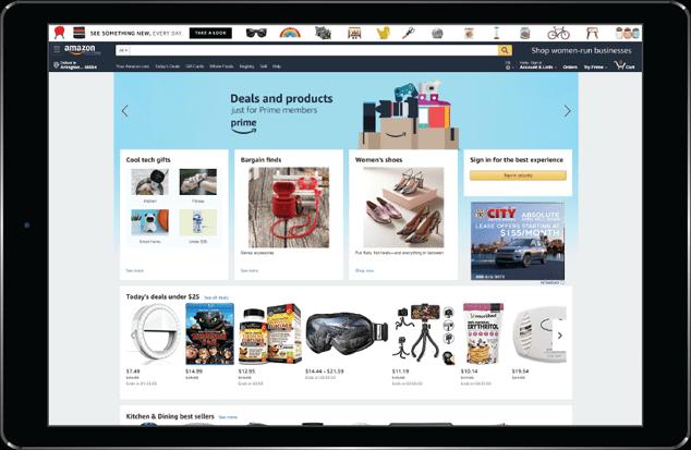 tablet device screen displays Amazon website