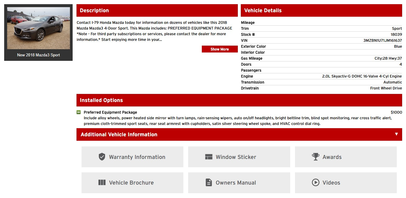 vehicle details and installed options screen